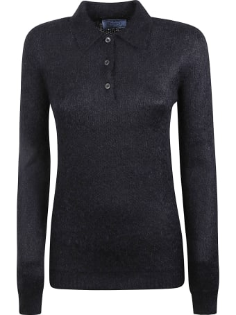 Prada Longsleeve Rib Knit Polo Shirt