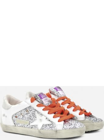 Golden Goose Superstar Sneakers In Leather With Python-effect Inserts