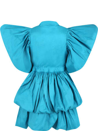 Caroline Bosmans Light-blue Dress For Girl With Ruffle