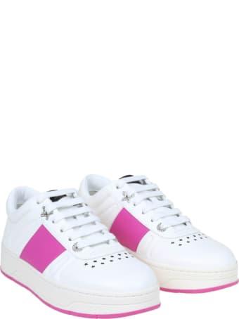 Jimmy Choo Hawaii Sneakers In White And Fuchsia Leather