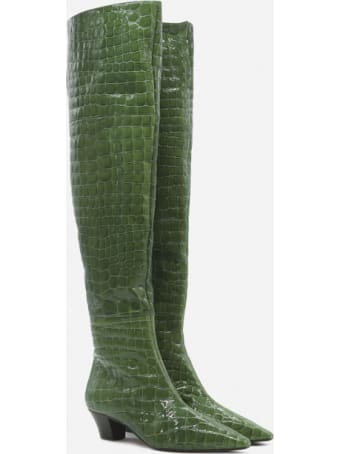 Aquazzura Tres Gainsbourg Boots In Crocodile Print Leather