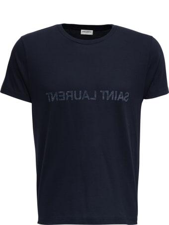 Saint Laurent Blue Cotton T-shirt With Logo Print