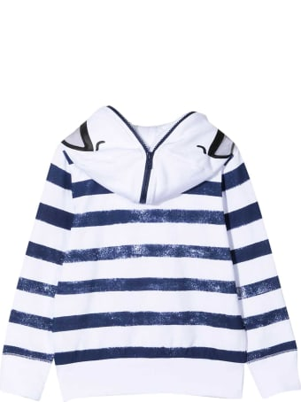 Stella McCartney White Sweatshirt With Blue Stripes