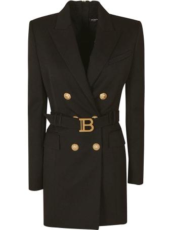 Balmain Rear Zip Belted Waist Blazer Dress