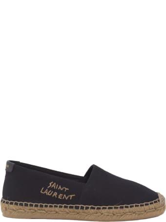Saint Laurent Embroidered Espadrilles In Black Canvas