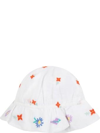 Stella McCartney Kids White Sun Hat For Baby Girl