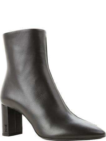 Saint Laurent Black Leather Lou 70 Pin Zip Ankle Boots