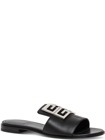 Givenchy 4g Flat Sandals In Black Leather