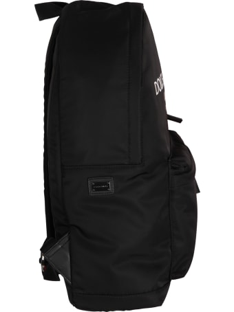 Dolce & Gabbana Black Backpack With White Logo For Kid