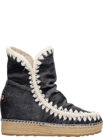 Mou Inner Wedge Ankel Boots Inside Wedge In Black Synthetic Fibers