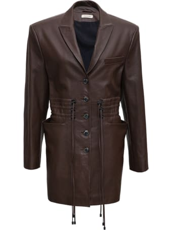 The Mannei Brown Leather Jacket With Drawstring