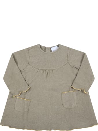 Le Petit Coco Beige Dress For Baby Girl With Gold Profiles