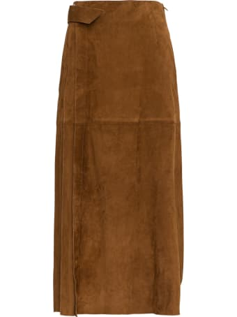 Alberta Ferretti Suede Pleated Skirt
