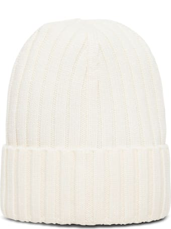 Moncler White Wool Hat With Logo Patch