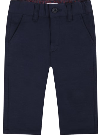 Hugo Boss Blue Pants For Baby Boy With Logo