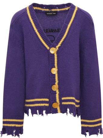 Riccardo Comi Purple Cardigan With Yellow Details