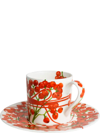 Taitù Set of 2 Espresso Cups & Saucers - Fil Rouge Bacche Collection