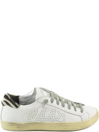 P448 White/zebra Print Leather Women's Flat Sneakers