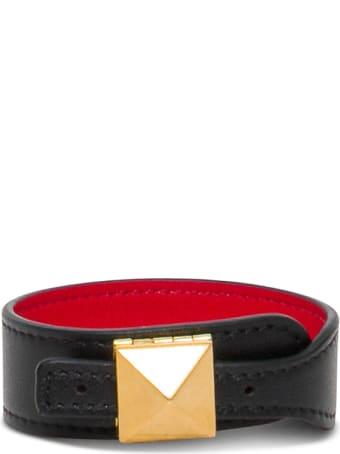 Valentino Garavani Black Leather Bracelet With Stud Detail