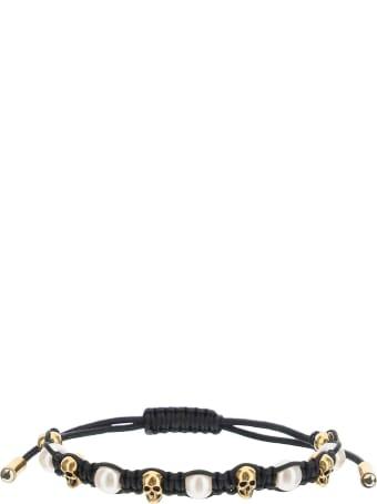 Alexander McQueen Skull And Pearl Friendship Bracelet