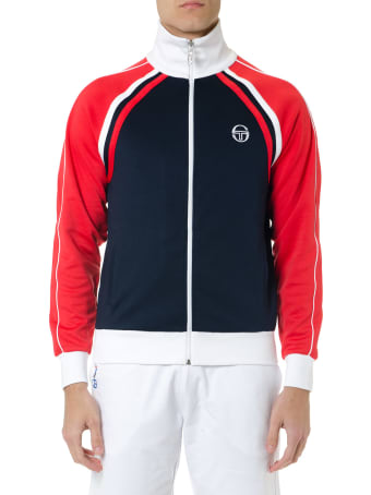 Sergio Tacchini Red Blue And White Zipped Sweatshirt In Mixed Cotton