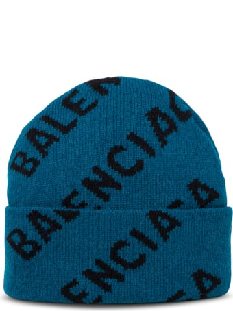 Balenciaga Baenie Petrol-colored Wool Hat With Logo