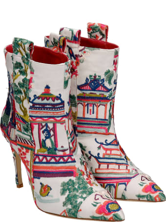 Bams High Heels Ankle Boots In White Synthetic Fibers