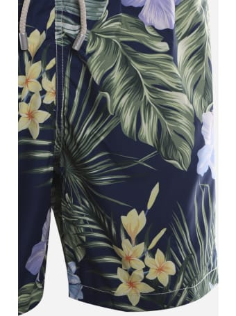 MC2 Saint Barth Swimsuit With All-over Tropical Leaves Print