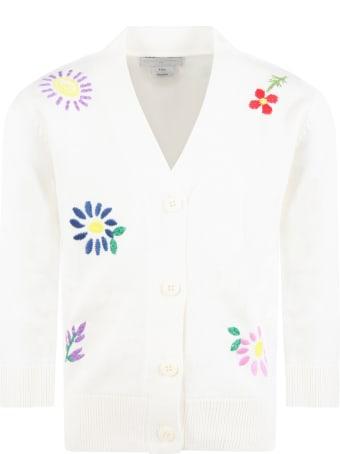 Stella McCartney Kids Ivory Cardigan For Kids With Flowers