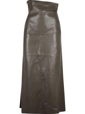 Nanushka Angular Waist Fluted Midi Skirt