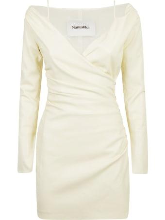Nanushka Gathered V-neck Plain Dress