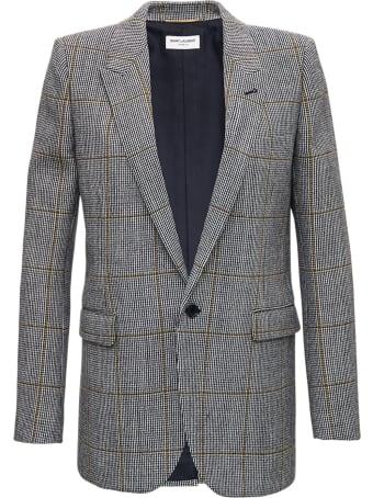 Saint Laurent Virgin Wool Houndstooth Blazer