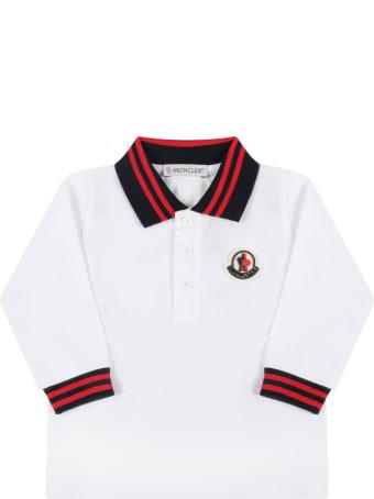 Moncler White Polo For Baby Boy With Logo