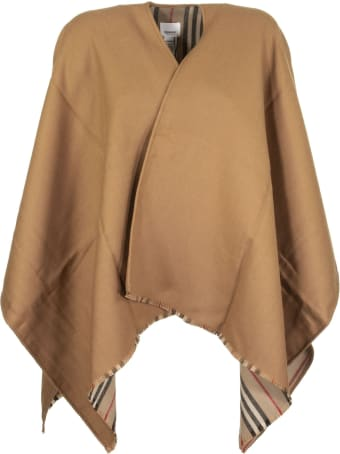 Burberry Icon Stripe Wool Cape In Flaxseed Scarves