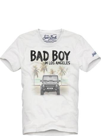 MC2 Saint Barth White Boy T-shirt With Car Print