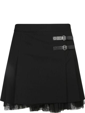 RED Valentino Lace Hem Buckled Skirt