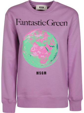 MSGM Fantastic Green Earth Print Sweatshirt