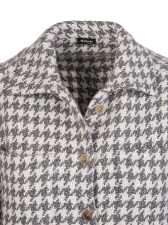 Kiton Woman Cashmere Shirt With Grey And Ivory Houndstooth Pattern