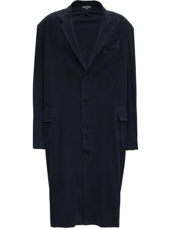 Balenciaga Worn Out Tailored Coat In Black Vintage Jersey
