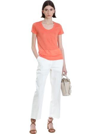 120% Lino T-shirt In Orange Linen