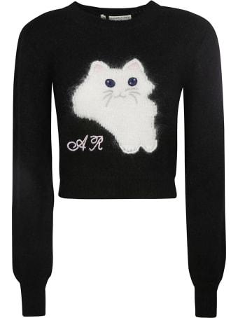 Alessandra Rich Cat Intarsia Cropped Wool Jumper