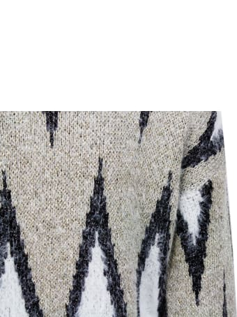 Liu-Jo Crew Neck Sweater With Furry Effect Embellished With Lurex Threads And Contrasting Color Print
