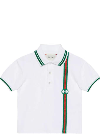 Gucci White Polo Shirt With Green And Red Details