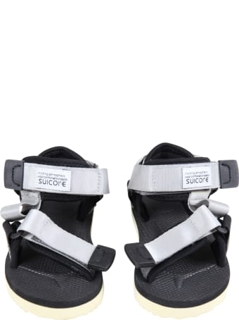"""SUICOKE Gray """"depa"""" Sandals For Kids With Logo"""