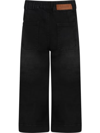 """Molo Black """"alyna"""" Jeans For Girl With Logo"""