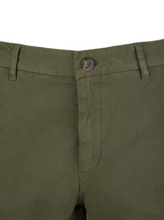 Cruna Marais Slim Fit Trousers In Green Stretch Cotton Gabardine