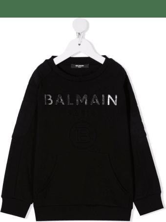 Balmain Black Kids Sweatshirt With Metallic Logo
