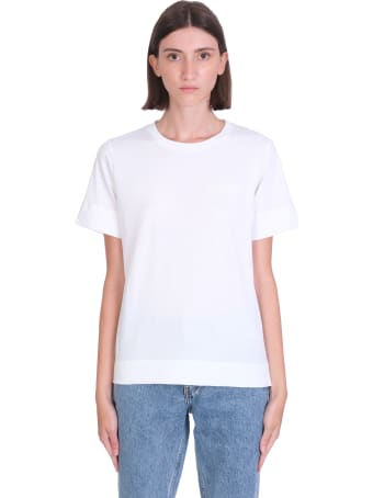 Ganni Thin Software T-shirt In White Cotton