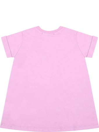 MSGM Lilac Dress For Babygirl With Logo
