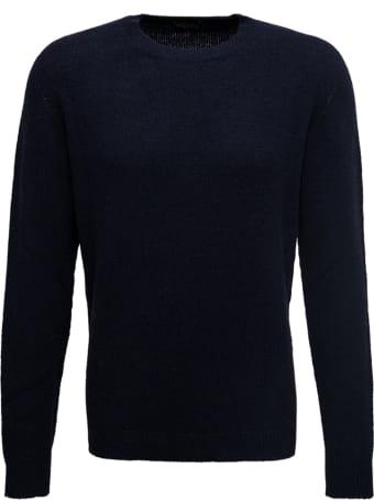 Roberto Collina Blue Crew Neck Wool Blend Sweater